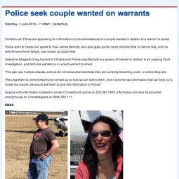 Arrest Warrent - Serial fraudsters Mr Paul James Bennett and his wife Sarah / Simone Williams, both have many names: David Kite, Paul Lochead, David Hanson - Private investigators 													Auckland -